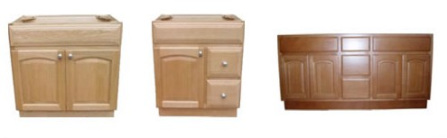 Three wash basin and cabinet material below